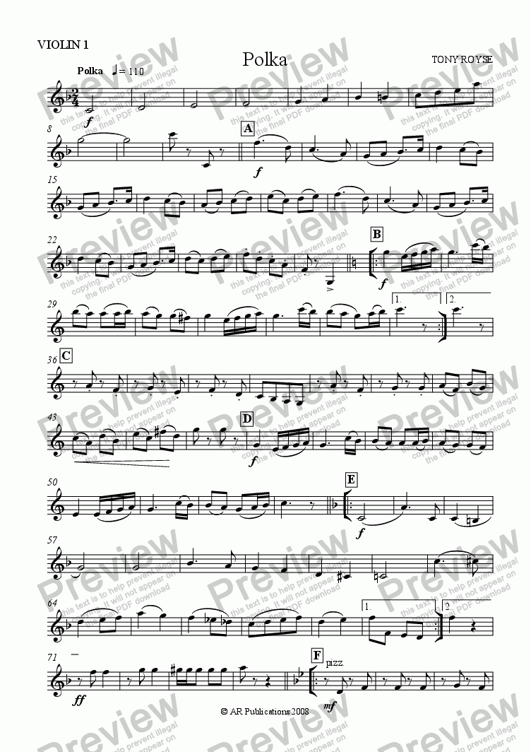 page one of the Vln. 1 part from Polka for School Orchestra