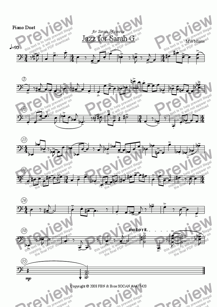page one of the Bass part from Jazz for Sarah G