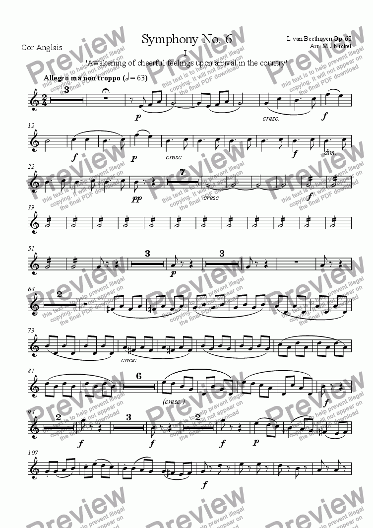 page one of the English Horn part from Symphony no. 6 - 1st Movement