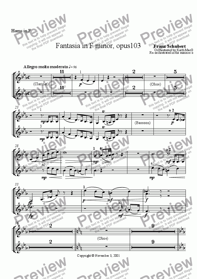 page one of the Horns I-IV in F part from Fantasia in F minor for Orchestra by Franz Schubert