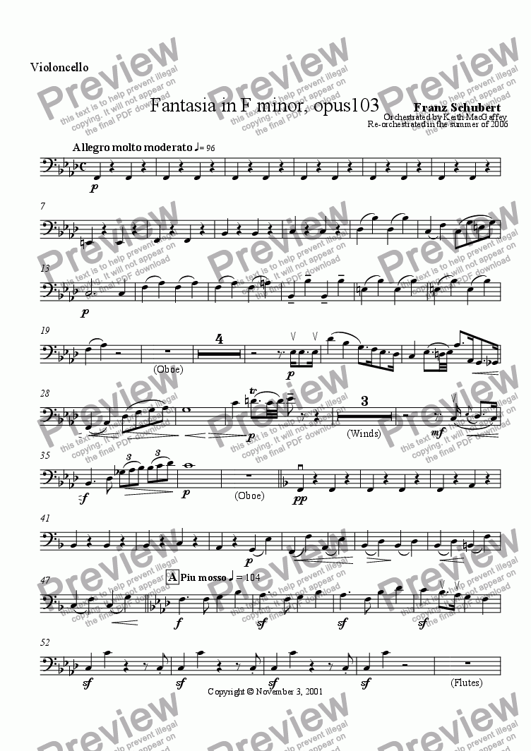 page one of the Cello part from Fantasia in F minor for Orchestra by Franz Schubert