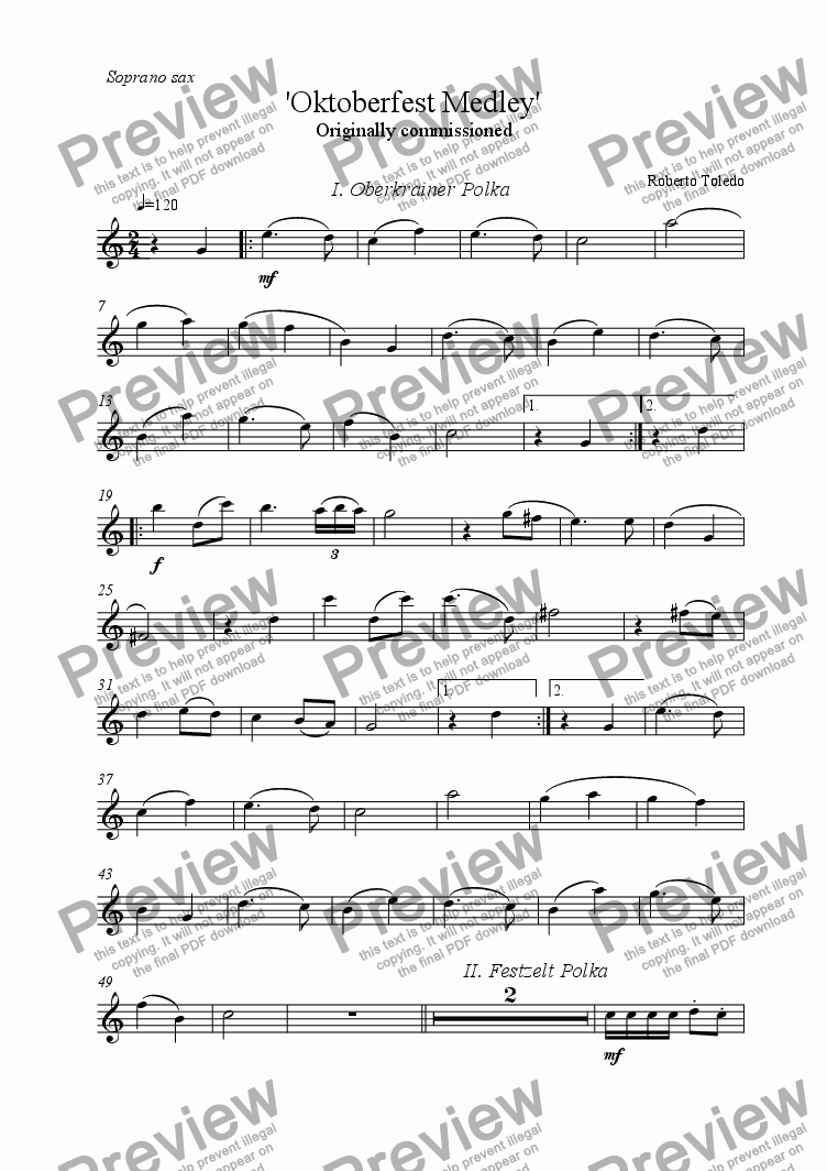 page one of the Soprano saxophone part from Oktoberfest medley