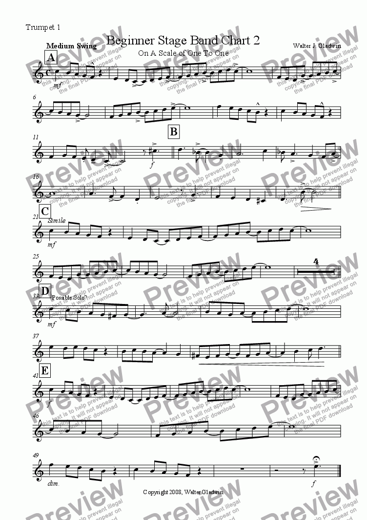 page one of the Trumpet 1 part from Beginner Stage Band: On A Scale Of One To One