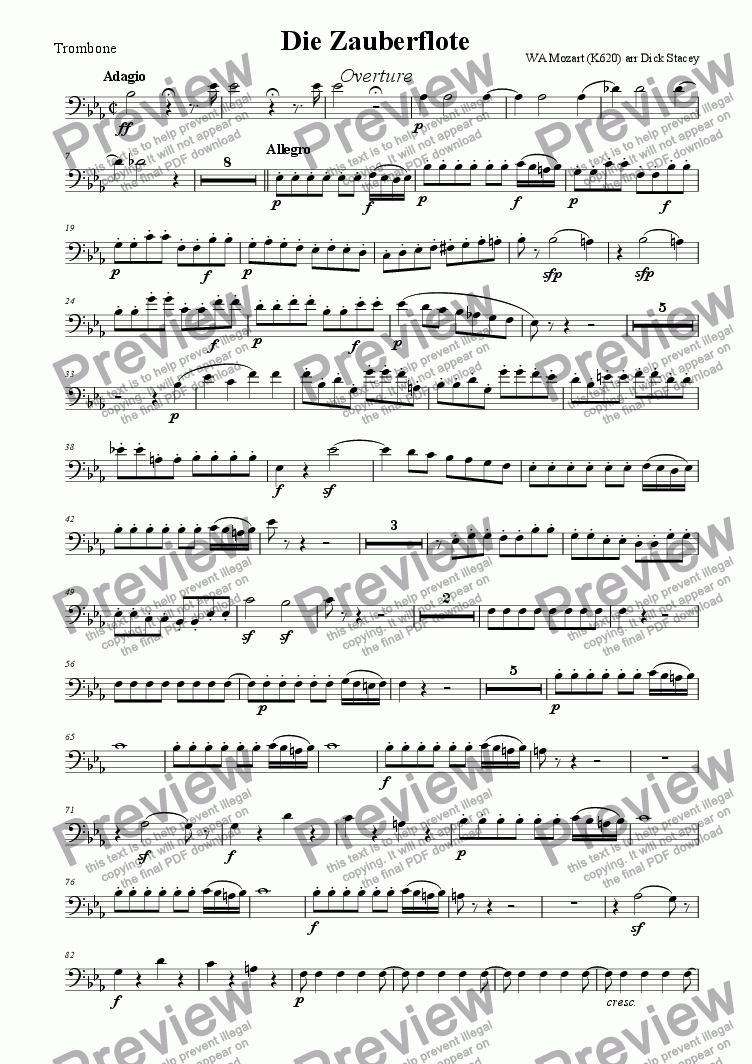page one of the Trombone part from Magic Flute Overture