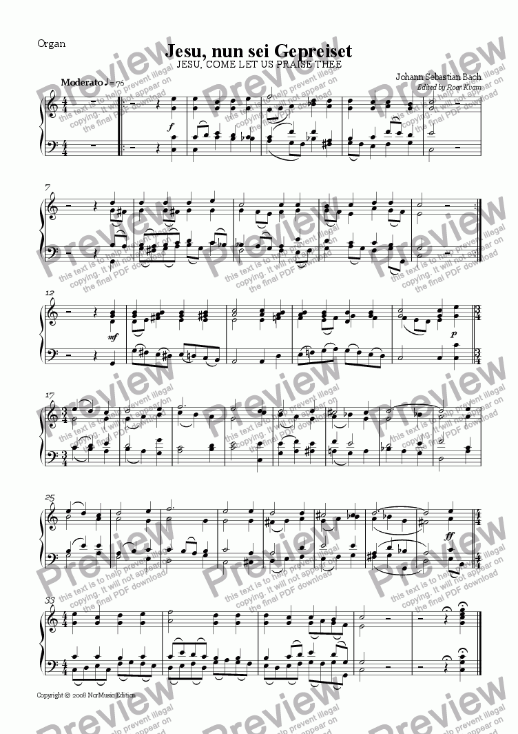 page one of the Organ part from Bach: Jesu, Come Let Us Praise Thee (3 Trumpets, Timpani and Organ)