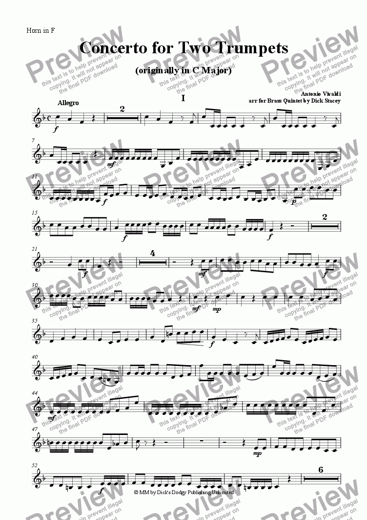 page one of the French Horn part from Concerto for Two Trumpets