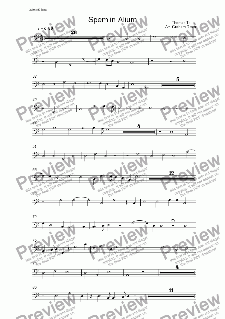 page one of the Quintet 5 Tuba part from Spem in Alium (eight brass quintets)