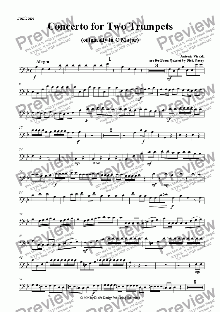 page one of the Trombone part from Concerto for Two Trumpets