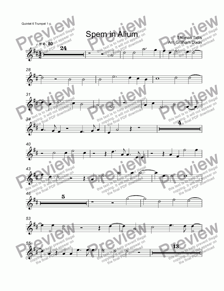 page one of the Quintet 6 Trumpet 1 part from Spem in Alium (eight brass quintets)