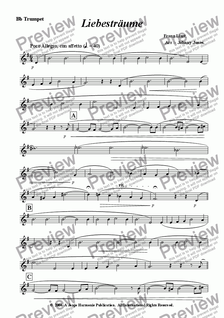 page one of the Bb Trumpet part from Liebestraume   (Bb Trumpet and Piano)