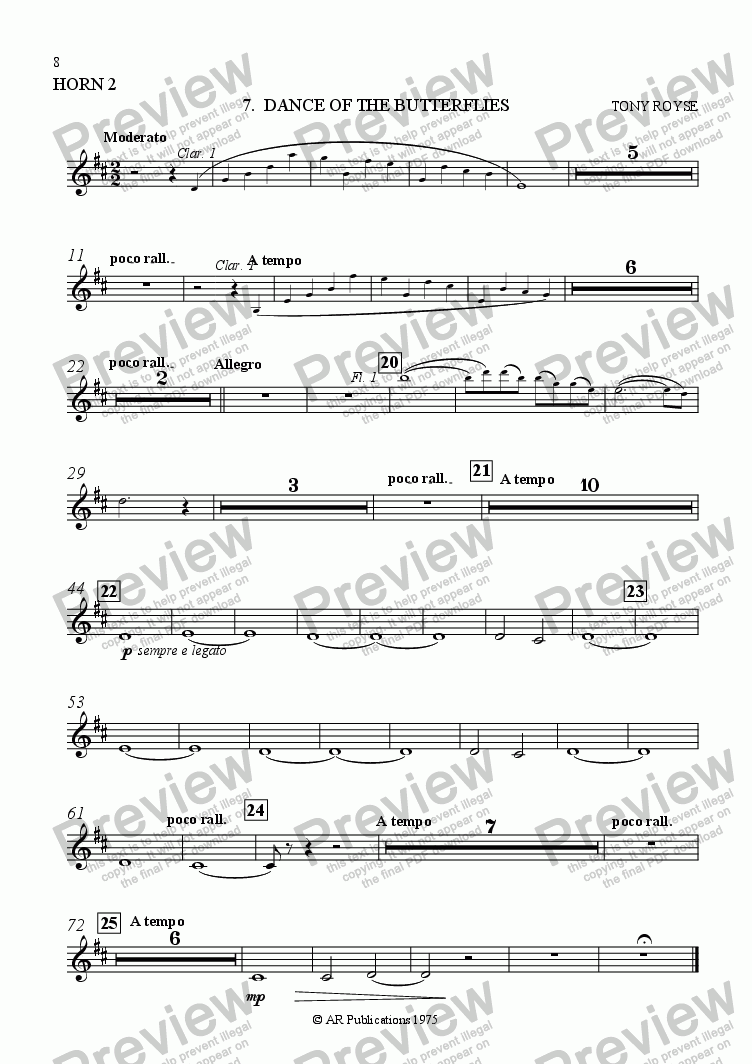 page one of the Horn 2 part from Ballet: Alice In Wonderland  (Act 1 - No. 07) Butterflies