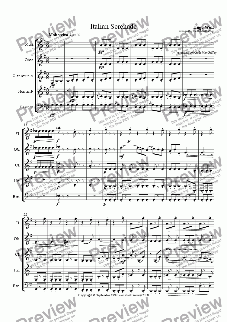 page one of the Oboe part from Italian Serenade by Hugo Wolf arranged for wind quintet