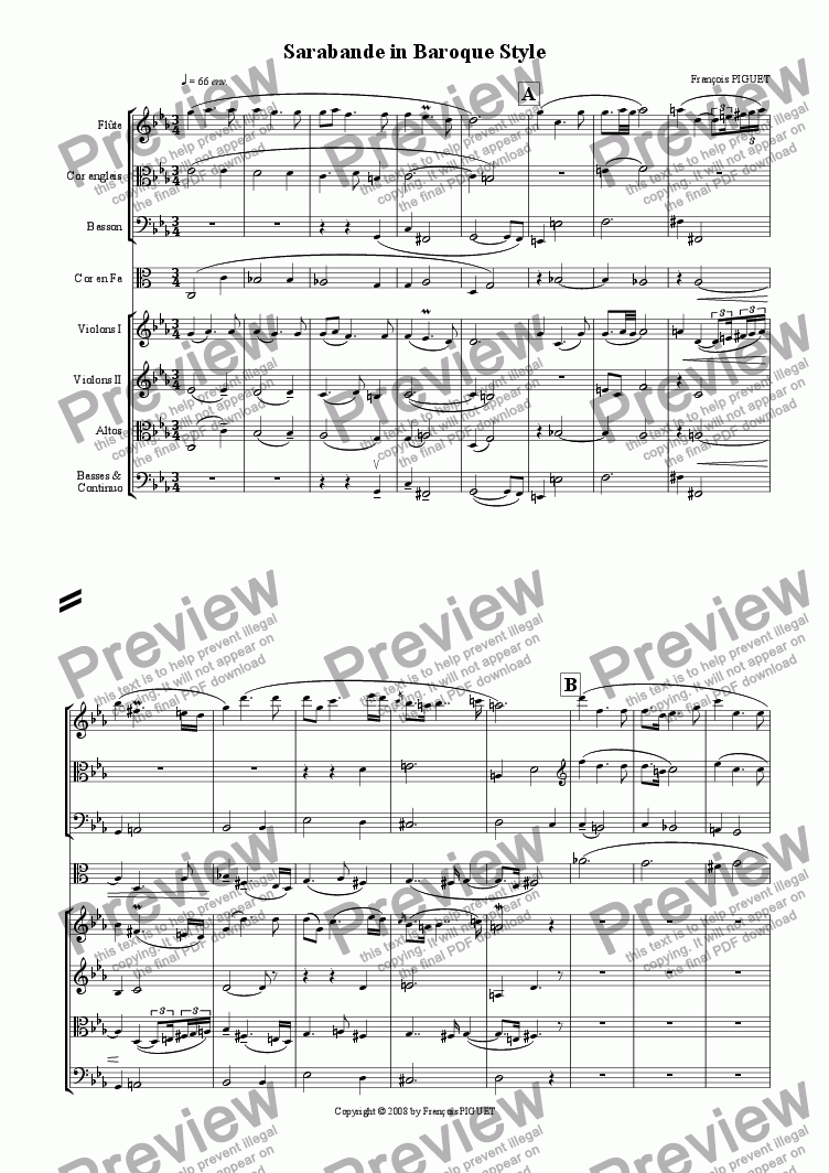 page one of the English Horn in F part from Sarabande for Chamber Orchestra