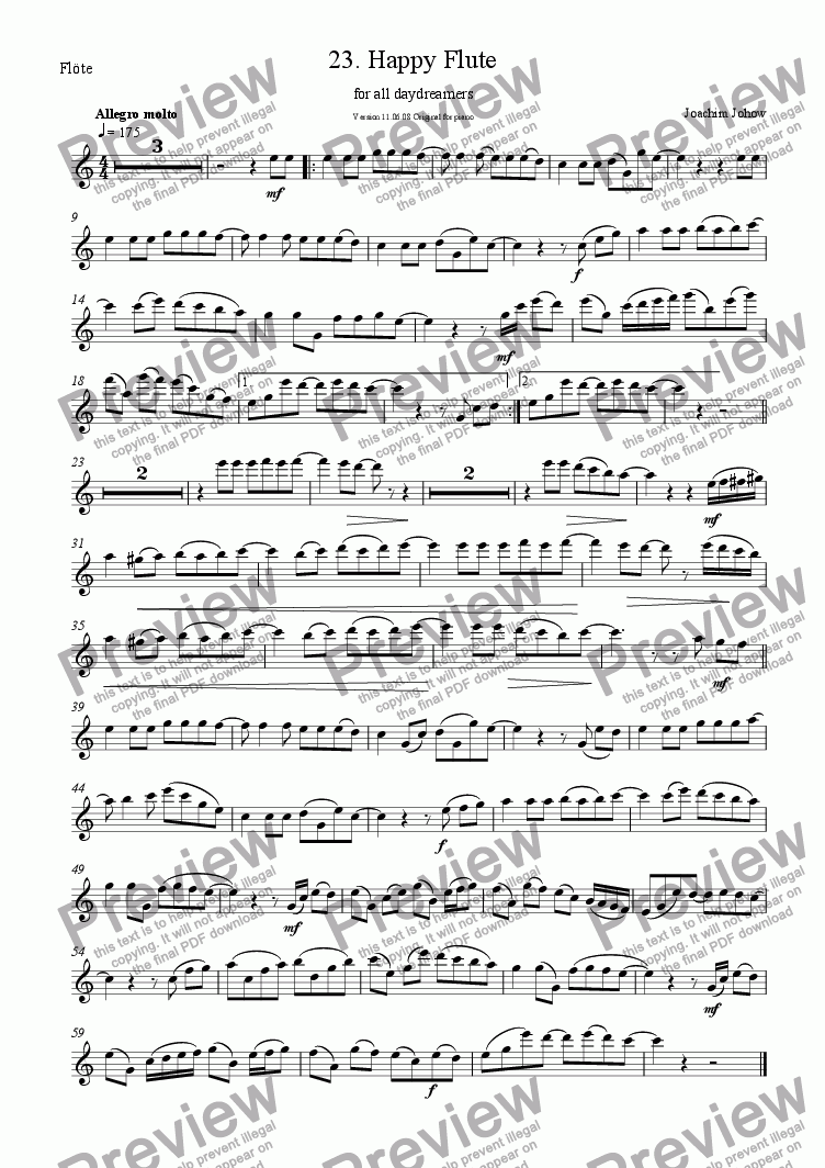 page one of the Fl part from Flute Book 23 (Happy Flute)