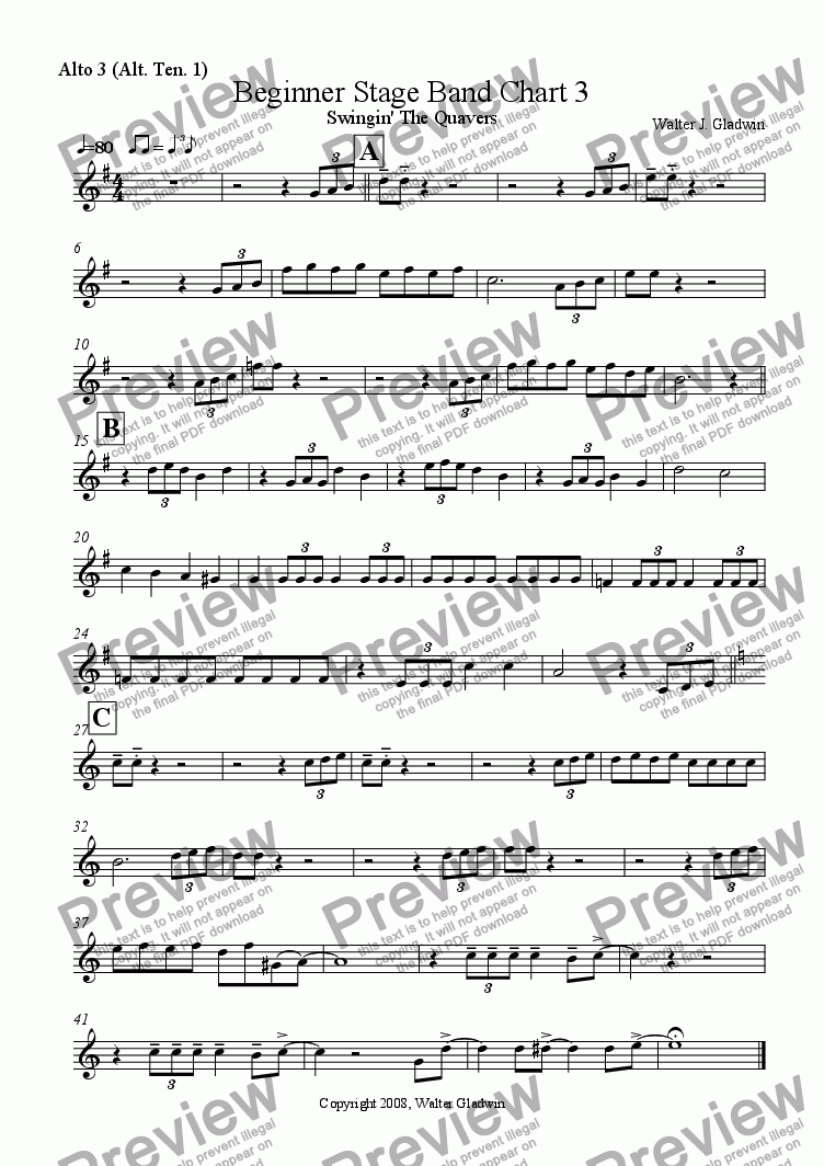 page one of the Alto 3 (Alt. Ten. 1) part from Beginner Stage Band: Swingin' The Quavers