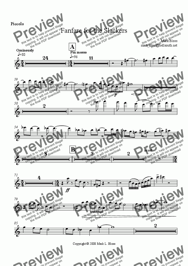 page one of the Piccolo part from Fanfare for the Slackers
