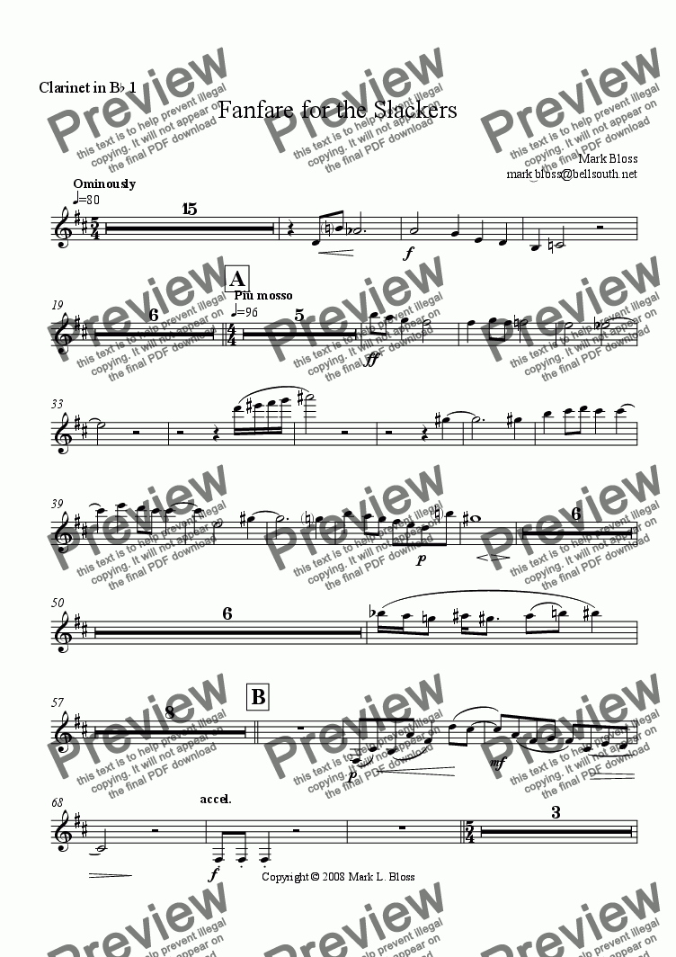 page one of the Clarinet in Bb I part from Fanfare for the Slackers