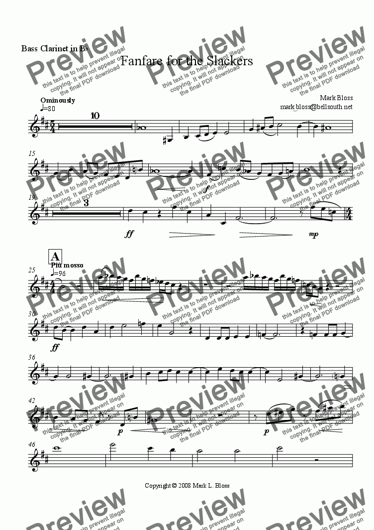 page one of the Bass Clarinet in Bb part from Fanfare for the Slackers