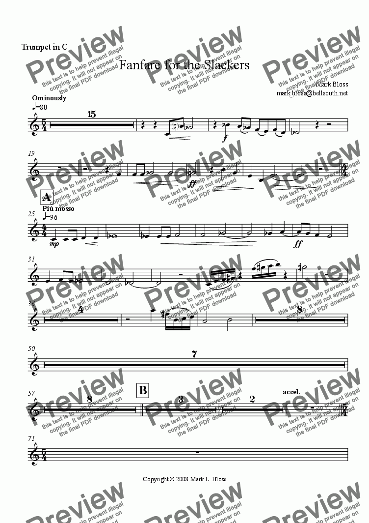 page one of the Trumpet in C part from Fanfare for the Slackers