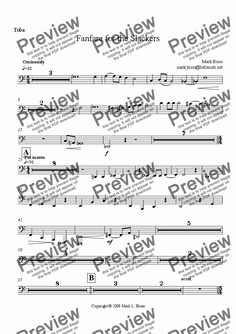 page one of the Tuba part from Fanfare for the Slackers
