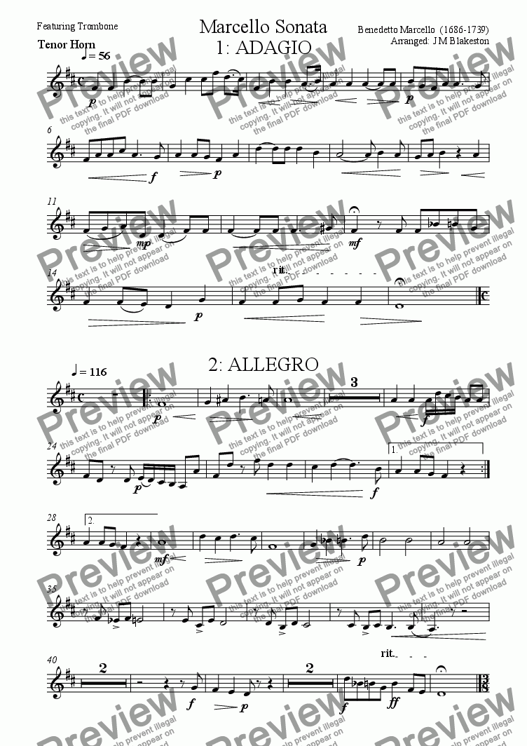 page one of the Tenor Horn part from Marcello Sonata (Trombone feature)