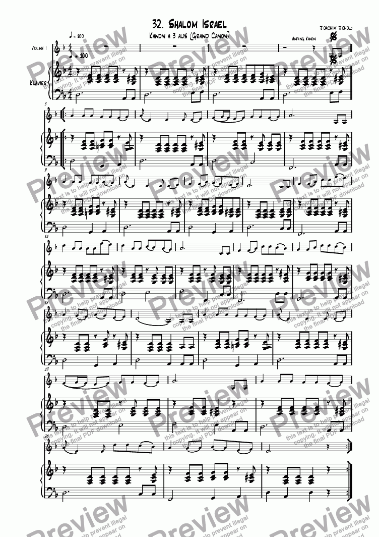 page one of the Piano part from Grand Canon 32 (Shalom Israel - Cl)