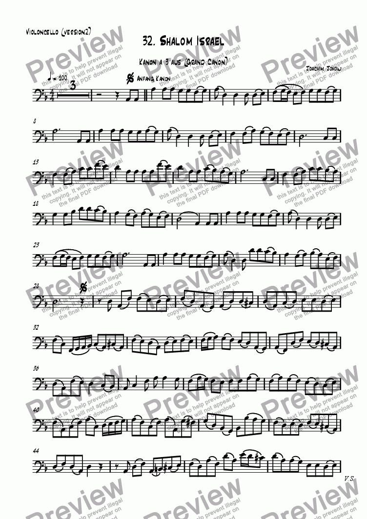 page one of the Vlc difficult part from Grand Canon 32 (Shalom Israel - Violoncellos)