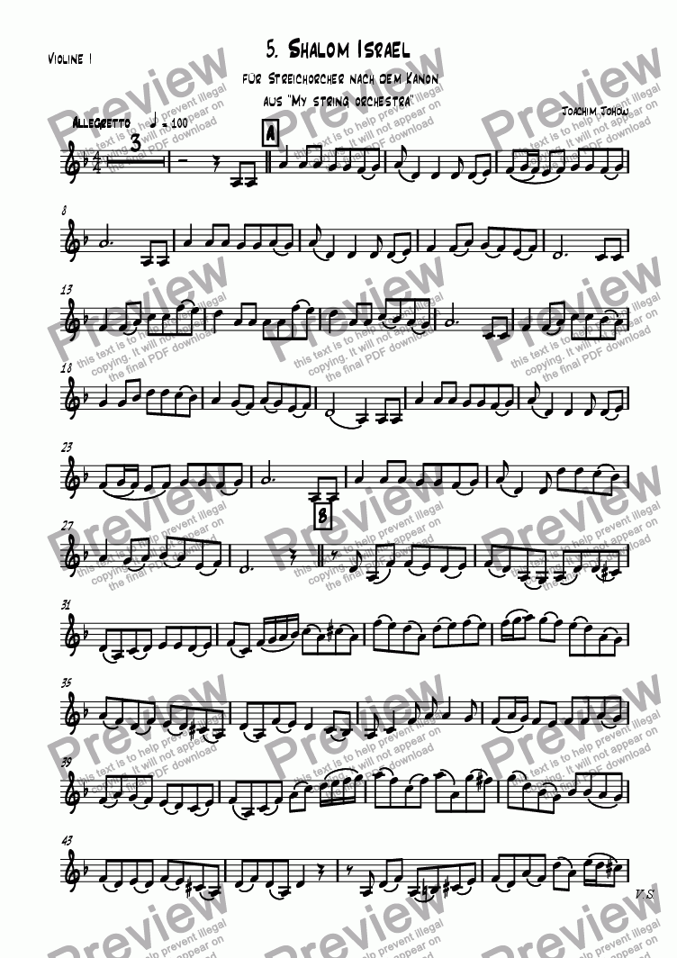 page one of the 1.Vl part from My Strings 05 (Shalom Israel)