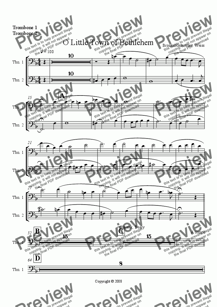 page one of the Trombones 1&2 part from O Little Town of Bethlehem (w/Wind Ensemble)