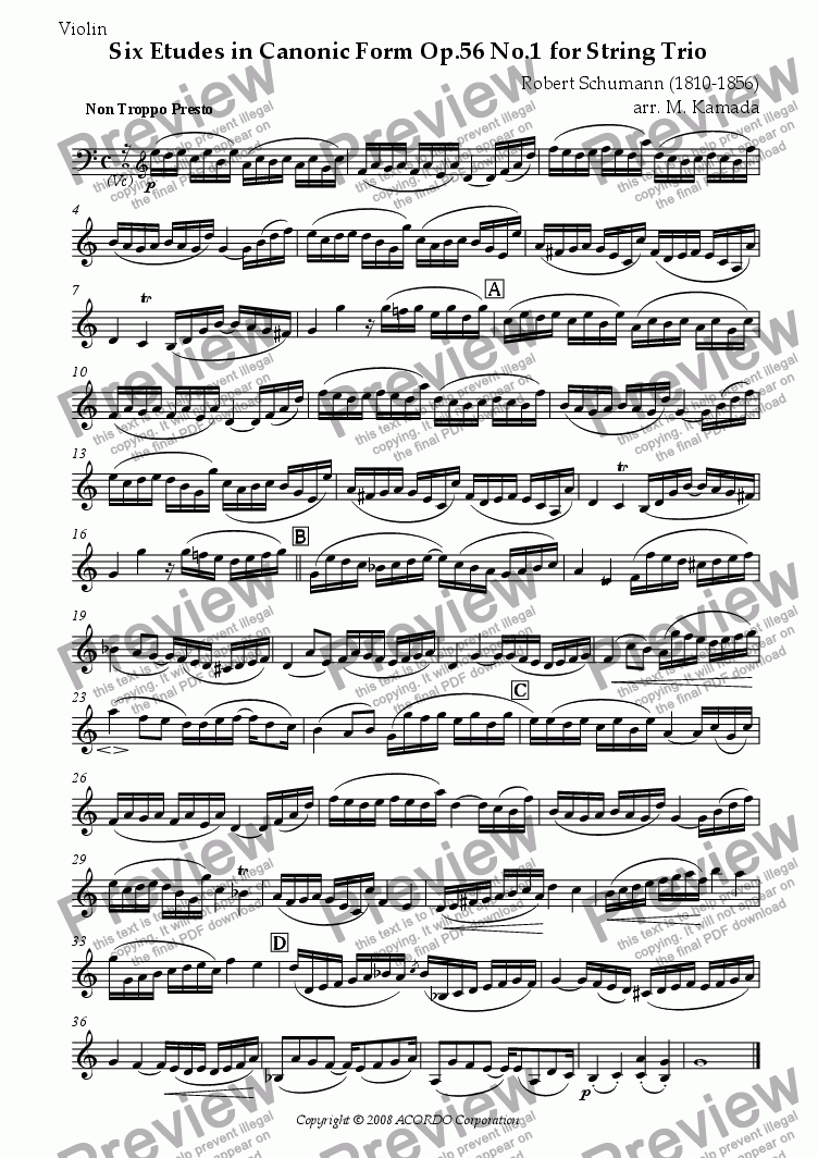 page one of the Violin part from Six Etudes in Canonic Form Op.56 No.1 for String Trio