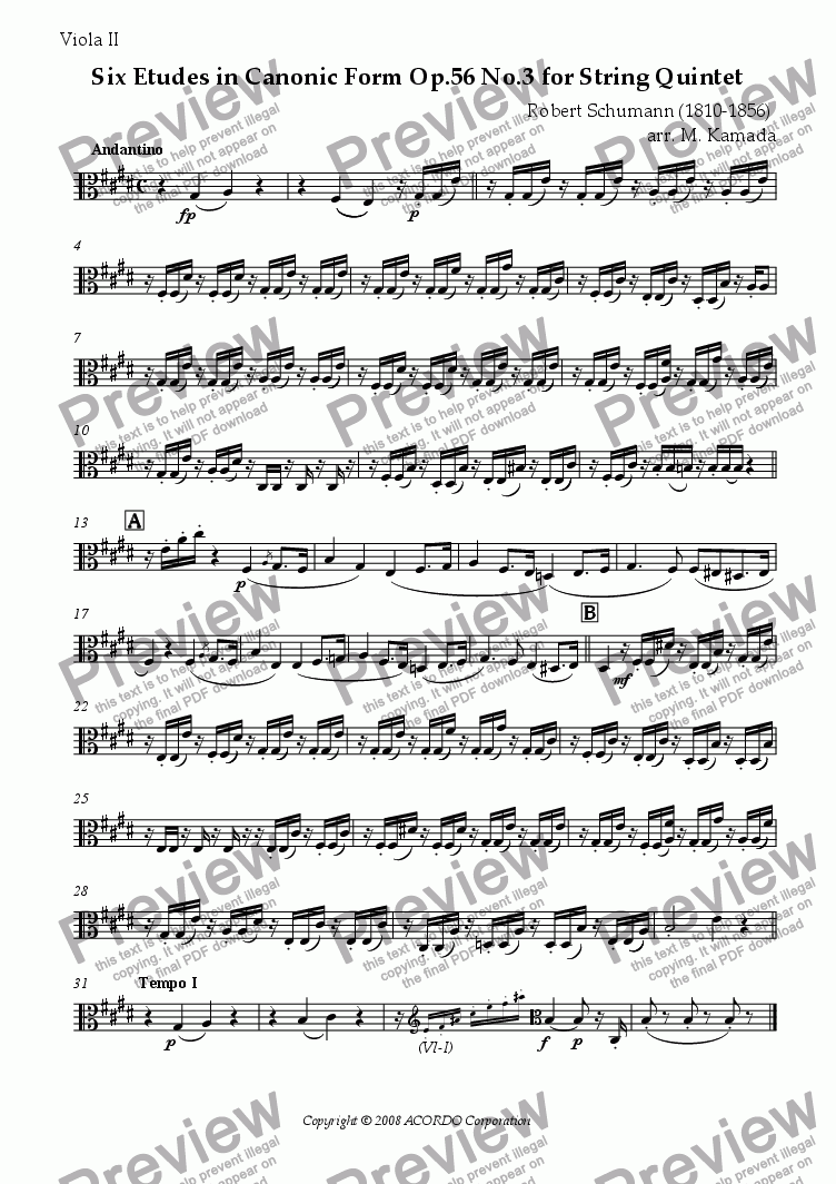 page one of the Viola II part from Six Etudes in Canonic Form Op.56 No.3 for String Quintet