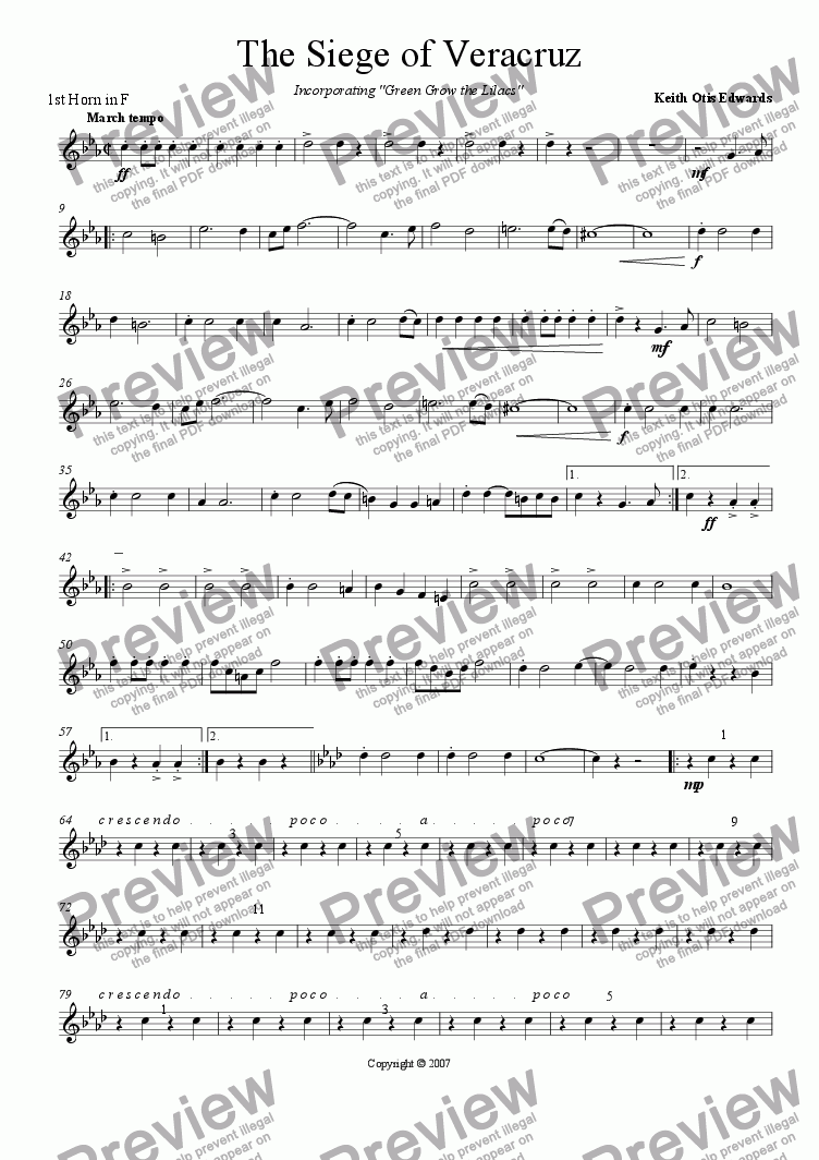 page one of the 1st Horn in F part from Siege of Veracruz (march)