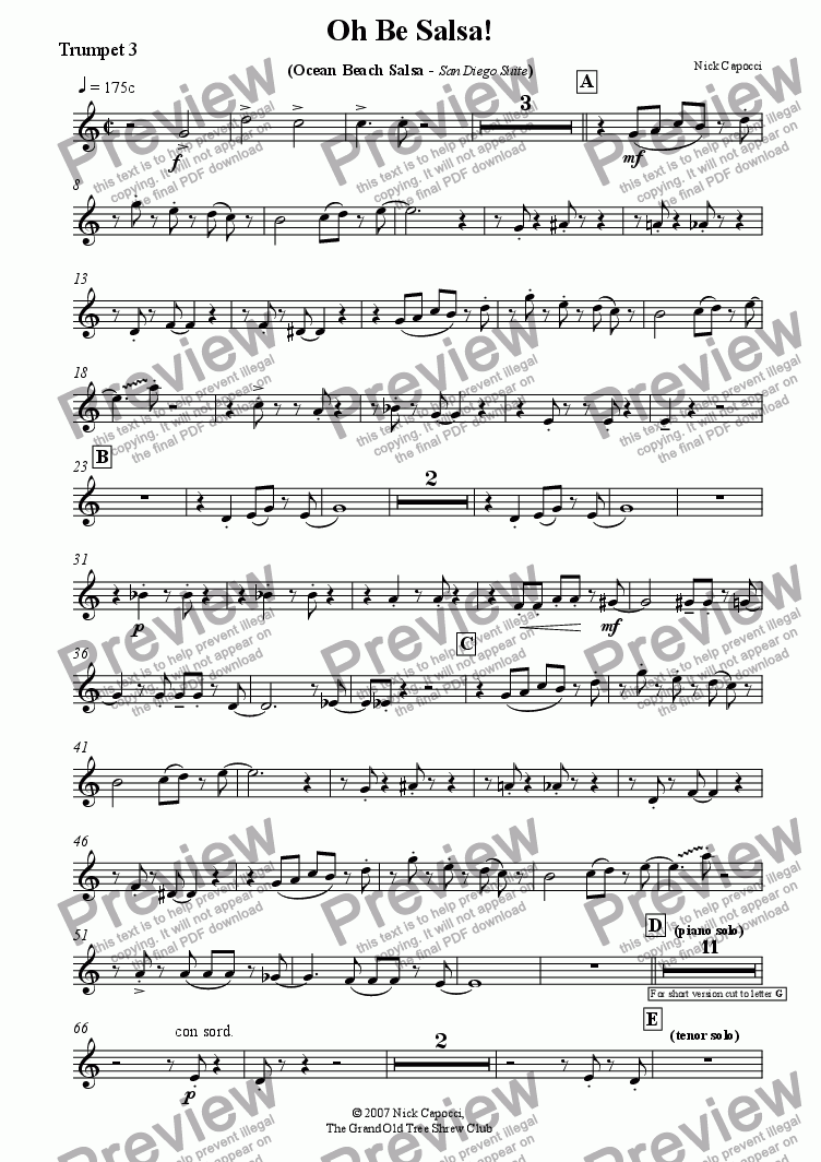 page one of the trumpet 3 part from Oh Be Salsa! BIG BAND