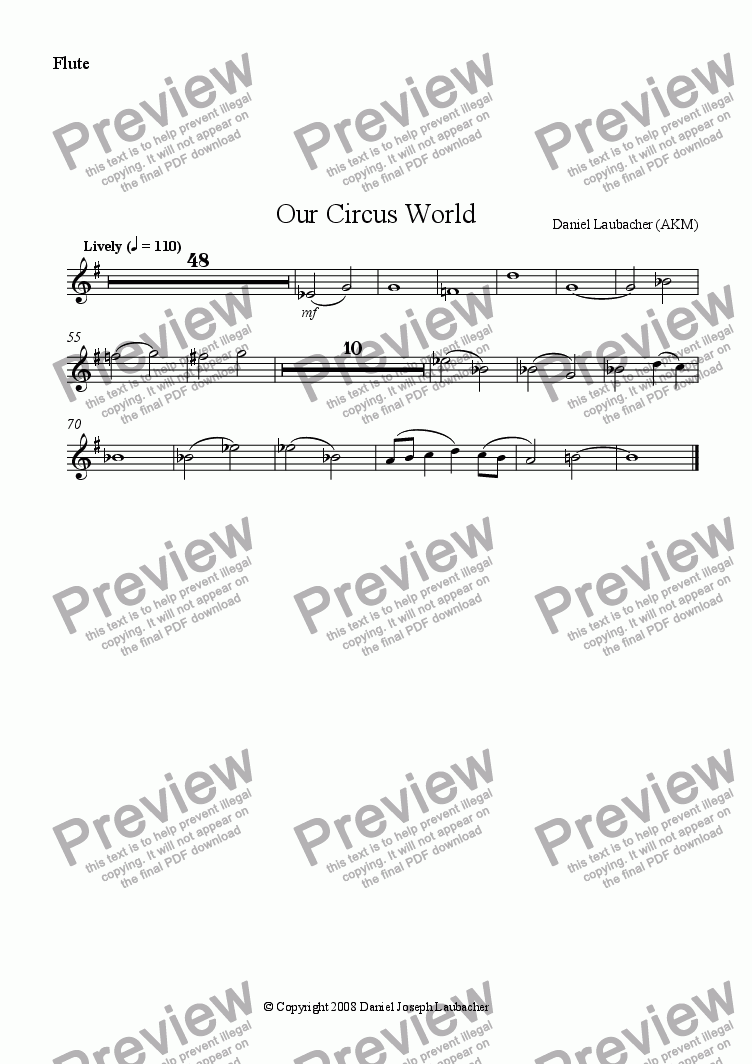 page one of the Flute part from Our Circus World (full orchestral version with childrens choir)