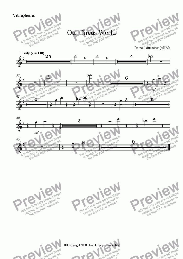 page one of the Vibraphones part from Our Circus World (full orchestral version with childrens choir)