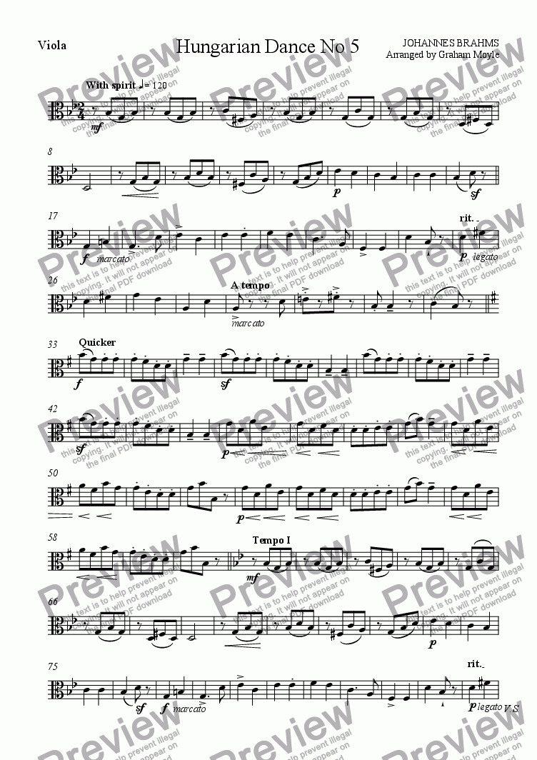 page one of the Viola part from Hungarian Dance No 5