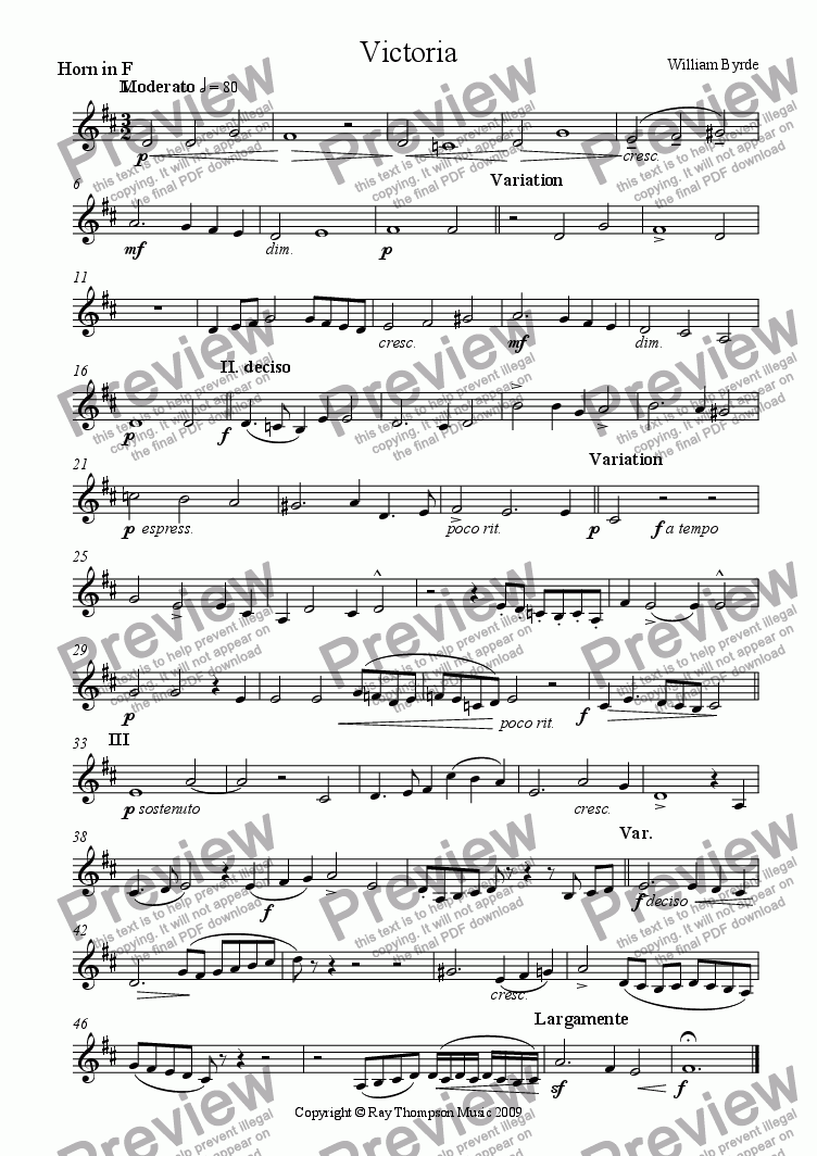 page one of the horn in F part from Victoria