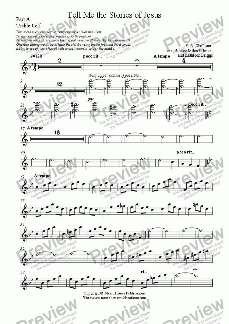 page one of the Tell Me the Stories of Jesus - Part A Treble part from Instant Ensemble:  Tell Me the Stories of Jesus