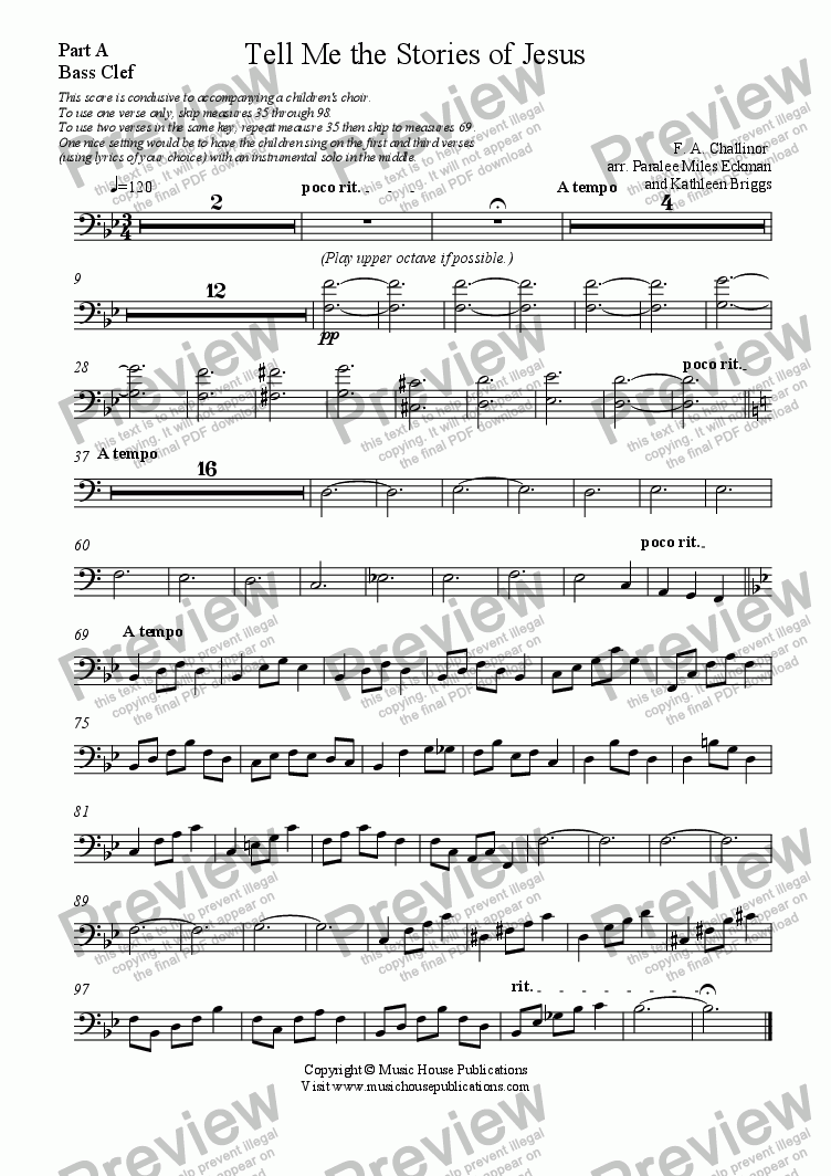 page one of the Tell Me the Stories of Jesus - Part A Bass part from Instant Ensemble:  Tell Me the Stories of Jesus