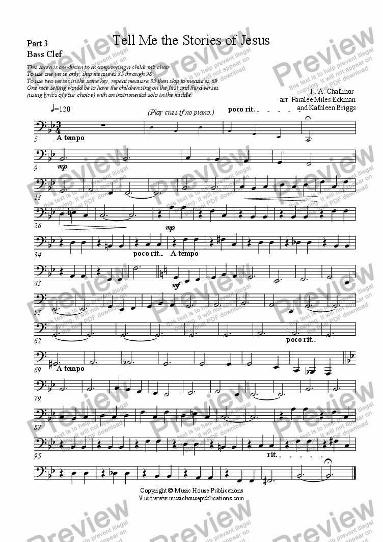 page one of the Tell Me the Stories of Jesus - Part 3 Bass part from Instant Ensemble:  Tell Me the Stories of Jesus