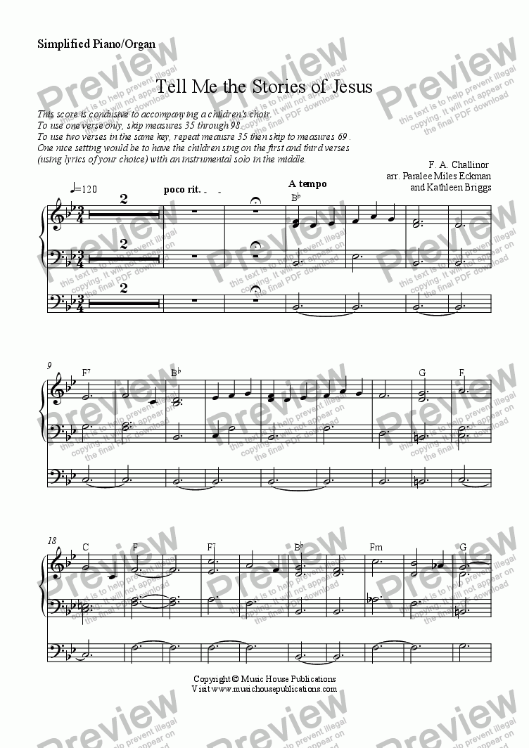 page one of the Tell Me the Stories of Jesus - Simple Piano/Organ part from Instant Ensemble:  Tell Me the Stories of Jesus