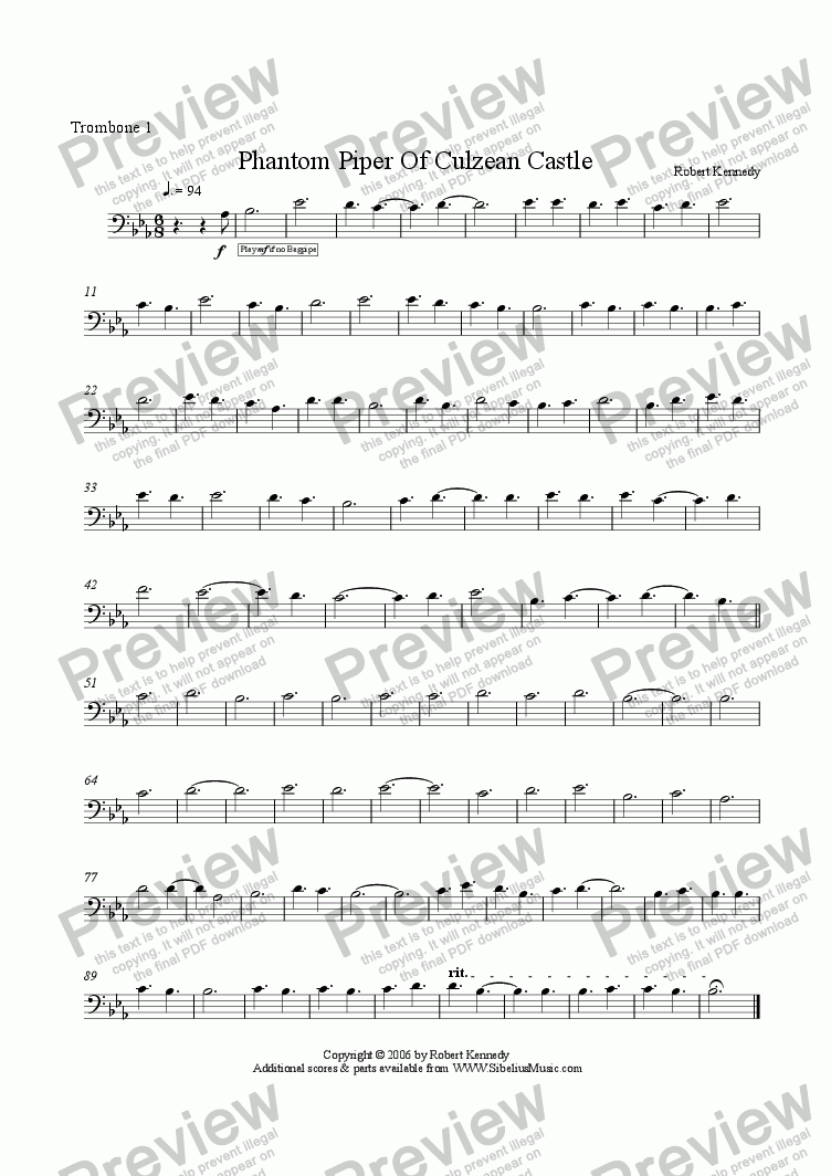 page one of the Trombone 1 part from Phantom Piper Of Culzean Castle  for Bagpipe & Wind Band