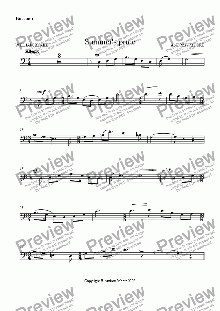 page one of the Bassoon part from 'Summer's Pride' for Bassoon & piano