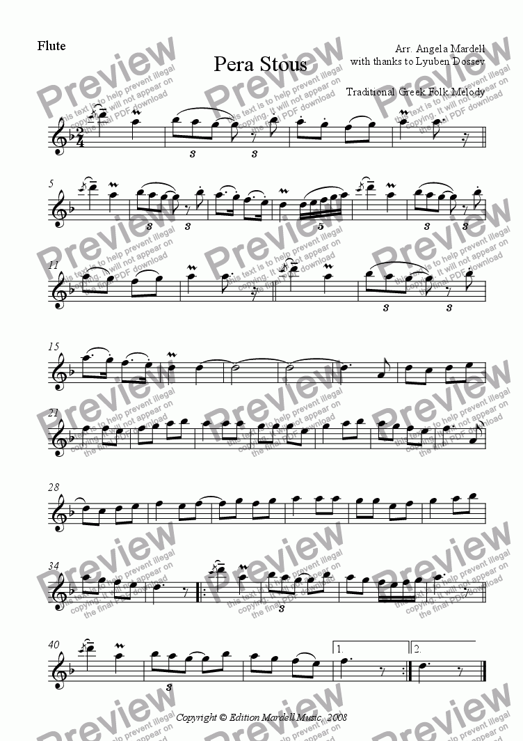 page one of the Flute part from Pera Stous