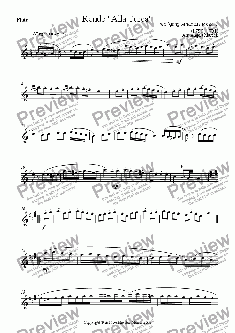"page one of the Flute part from Rondo ""Alla Turca"""