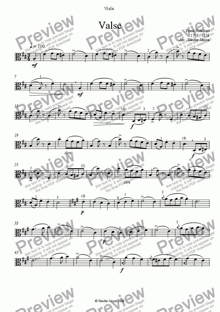 page one of the Viola part from Valse