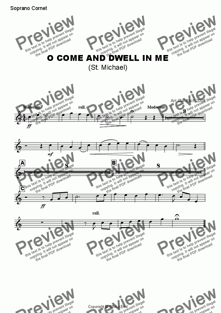 page one of the Soprano Cornet part from O come and dwell in me (St. Michael)