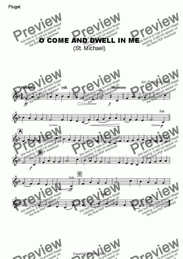 page one of the Flugelhorn part from O come and dwell in me (St. Michael)