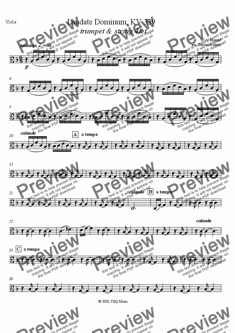 page one of the Viola part from Laudate Dominum, KV 339 (trumpet & string 4tet)