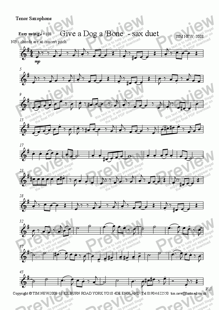page one of the tenor saxophone part from Give a Dog a 'Bone - sax duet